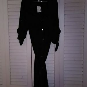 Long black dress with belt